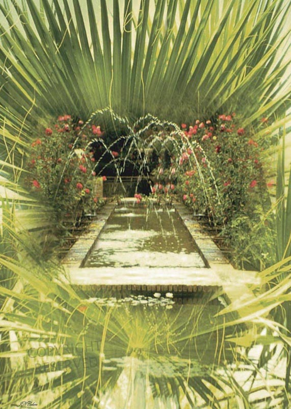 Large limited edition prints, Big, John Neville Cohen, Water Garden 2, Tropical, pond, fountains, Roses, Palms, Green, Yellow, Red