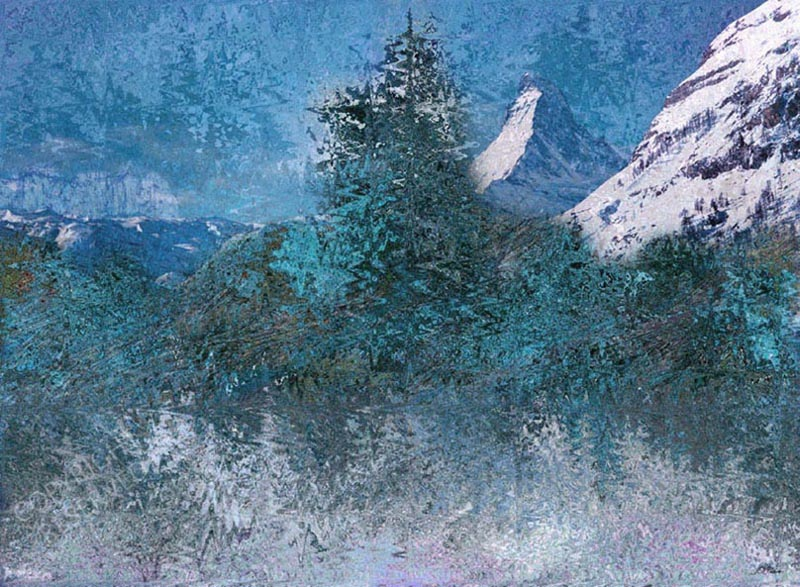 John Neville Cohen, Winter Frost 24, Mountains, snow, trees, ice, Blue, Green, White