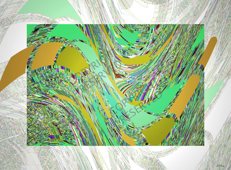 John Neville Cohen, Abstract Green 2 (39B), Green, Orange, Yellow, Brown
